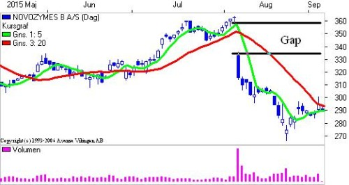 "Novozymes med ""gap""."